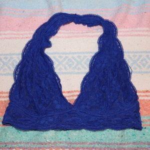 Royal Blue Lace Halter Bralette